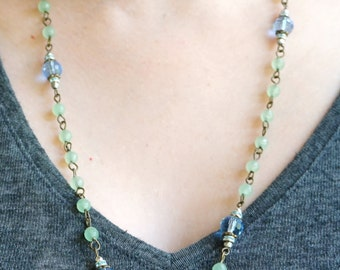 Colorful Blue and Green Beaded Necklace