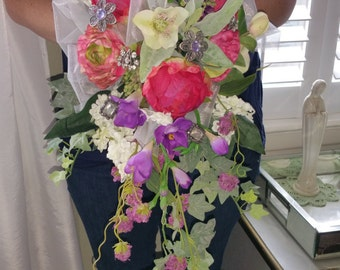 Silk Brides Bouquet with jewels