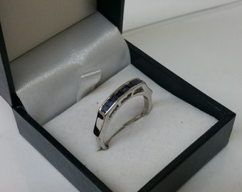19.3 mm Silver ring 925 sapphires elegant rar SR734