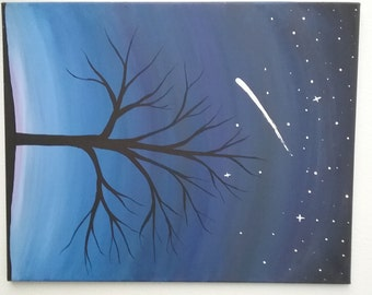 Shooting Star, Tree at Night, Acrylic Painting, Handmade, Starry Sky Painting, Landscape, Shooting Star Painting, Trees