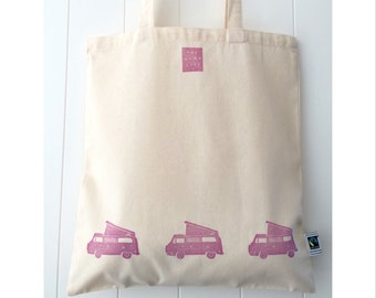Handprinted VW Westfalia Campervan Fairtrade Cotton Tote #vanlife