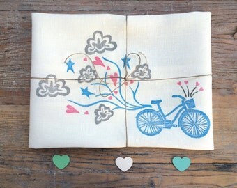Beach Cruiser Bicycle & Cloudy Heart Trail 100% Linen Kitchen Tea Towel