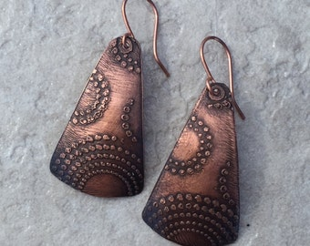 Etched Copper Earrings / Etched Metal Jewelry - Item CPS011015