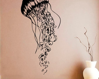 Jellyfish Wall Sticker Jellyfish Vinyl Decal Nautical Vinyl Decals Wall Vinyl Decor /13xvm/