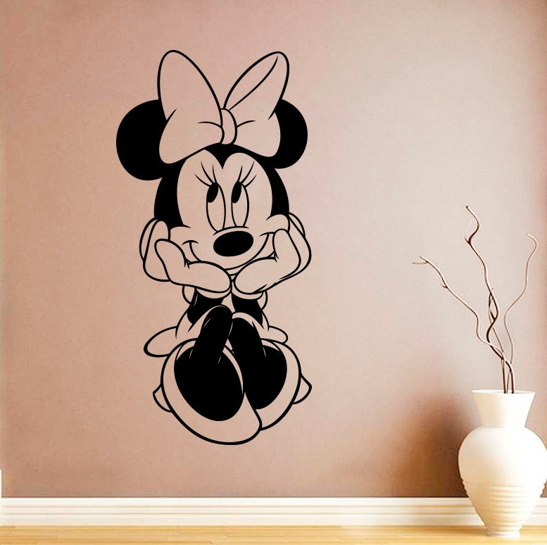 minnie mouse wall decal minnie mouse vinyl sticker cartoon. Black Bedroom Furniture Sets. Home Design Ideas