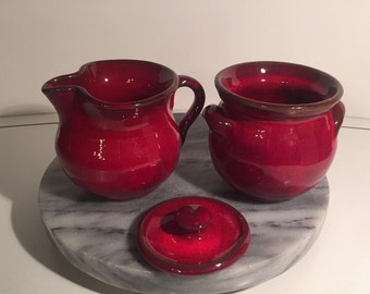 Red Ceramic Pottery Creamer Set by OWENS
