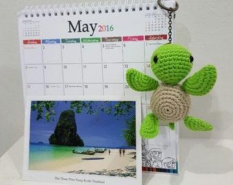 Handmade Little Sea Turtle Crochet Keychain