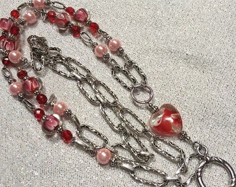 Valentine Lanyard | Red & Pink Floating Hearts Silver Chain Lanyard | ID Badge Holder| Badge Lanyard | Name Tag Holder | (Breakaway option)