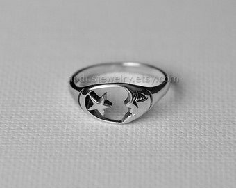 Celestial ring, sterling silver ring, crescent moon ring, star ring, star and moon ring, celestial jewelry, silver moon ring, Nodus Jewelry