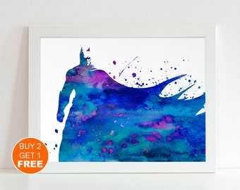 Batman watercolor illustration art print, dark knight art, comics poster, Batman print, superhero art, superhero print, superhero watercolor