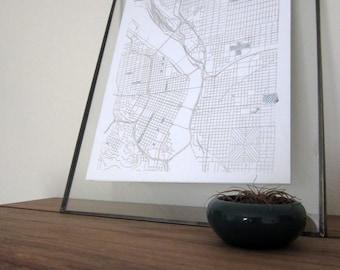 Portland Street Grid Map - Silver on White