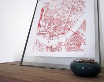 Cincinnati Street Grid Map - Red on Pearl White