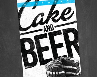 Cake and Beer - Printable Birthday Invitation