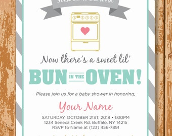Bun In The Oven Baby Shower Invitation, Baking Baby Shower Invite, Baby Shower Invitation, Gender Neutral Baby Shower, Printable, Customized
