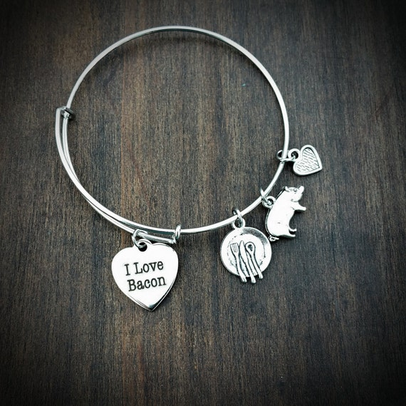 i bacon adjustable bangle bracelet bacon lover gift