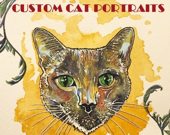Cat Portraits Custom (Made To Order)
