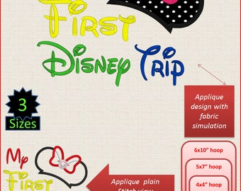 Disney My First Trip Applique Machine Embroidery Designs 4x4 5x7 6x10 hoop