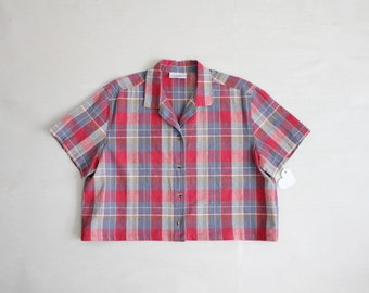 plaid crop top / collared crop top / cropped blouse