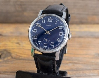 Vintage Pobeda mens watch blue dial russian watch ussr cccp
