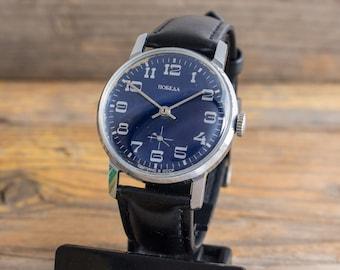 Vintage Pobeda mens watch, blue dial, mechanical watch, soviet watch, mechanical watch, retro watch, casual russian watch, ussr cccp