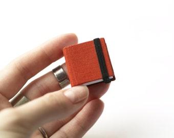 Hand-bound miniature sketchbook red-brick 1.1x1.1 inch