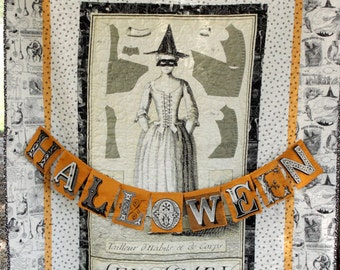 Halloween Quilted Wall Hanging  October  Halloween Decor  Witch Decor