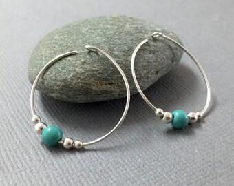 Silver Hoops, Turquoise Hoop Earrings, Silver Bohemian Hoop Earrings, Everyday Earrings, Small Hoop Earrings, Turquoise and Silver Jewelry