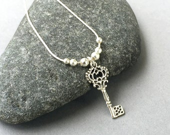 Sterling Silver Key Necklace, Skeleton Key Pendant Necklace, Sterling Silver Jewelry, Heart Key Necklace, Bridesmaid Gift, Love Necklace