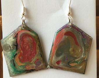 Mixed media painted vinyl earring