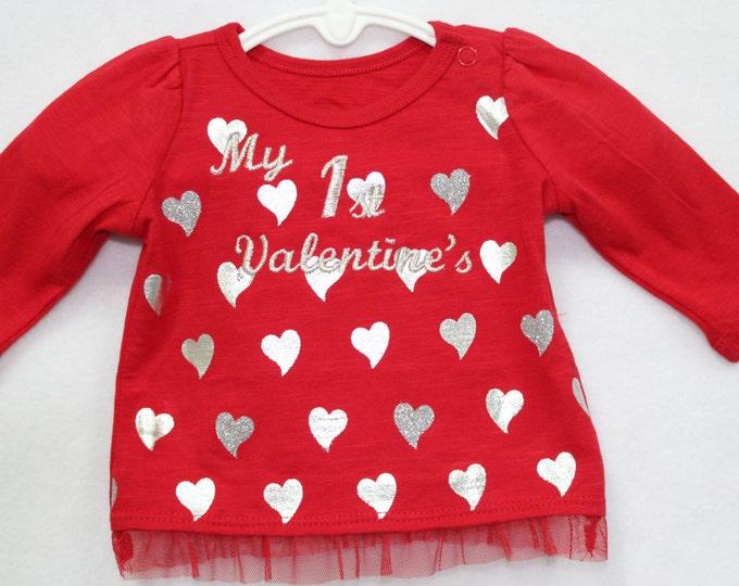 Newborn Baby Valentines Day shirt, Red Valentine shirt, Red Heart baby shirt, 1st Valentines Day shirt
