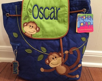 Personalized Stephen Joseph Quilted Backpack- Boy Monkey