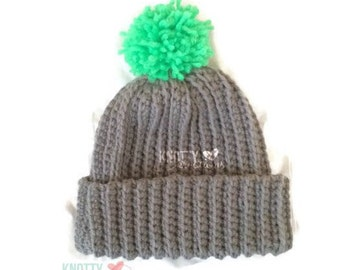 Ribbed Crochet Beanie with Pom Pom