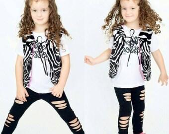 Minky Zebra Vest Furry Vest Reversible Pink Vest Double Sided Minky Vest