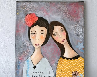 art, original mixed media painting on canvas s collage wall decor home decor naive art original oil painting acrylic painting  x-mas woman