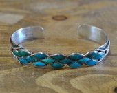 Vintage Zuni Sterling Silver And Turquoise Inlay Cuff Bracelet