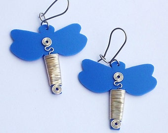 Recycled plastic bottles earrings Dragonfly ecofriendly earrings upcycled handmade jewelery by RecuperArte