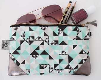 Leather zipper pouch with an original ANJESY design