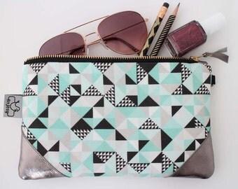 Clutch bag/Clutch geometric print/Clutch hand strap/Original ANJESY Designs/Leather clutch/Gift for her.