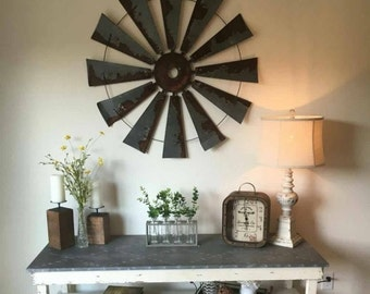 Farmhouse metal windmill  wall decor 38 inch round - gift- windmill blades-rustic-industrial-mancave-Fathers day home decor- gift for dad
