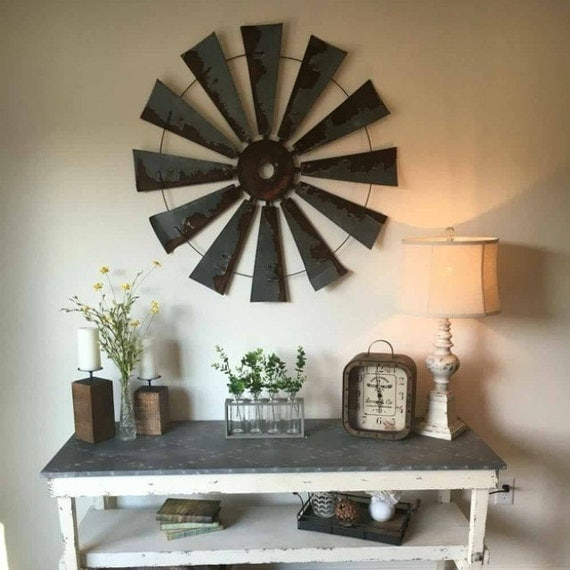 Farmhouse metal windmill wall decor 38 inch round t