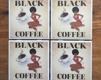 Black Coffee Pin Up Girl Coasters
