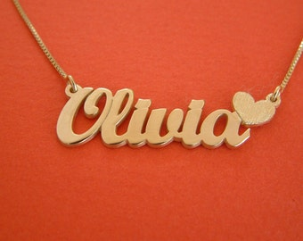 Olivia Name Necklace Gold Nameplate Necklace Heart Charm Necklace 14k Gold Name Necklace Olivia Necklace With Name Locket Necklace