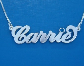 Carrie Necklace Carrie Bradshaw Name Necklace Carrie Name Necklace Mon Collier Prénom Collier Avec Prenom Namenskette Silber Name Charm