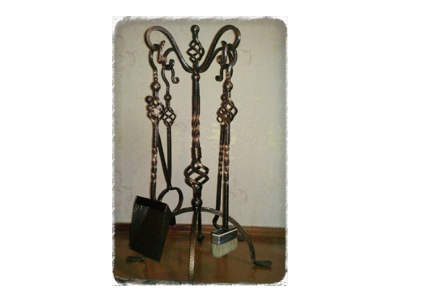 Hand Forged Wrought Iron Fireplace Tool Set Fireplace Tool