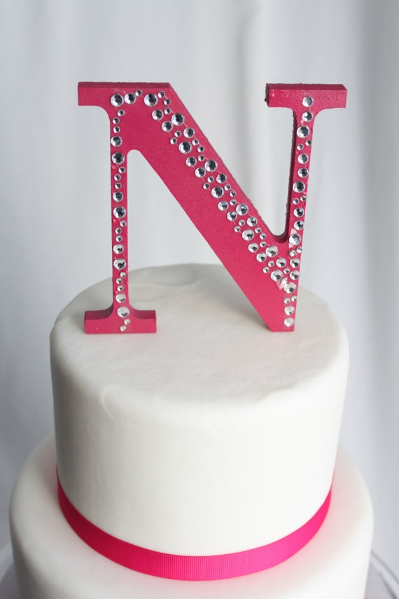 items similar to hot pink letter n cake topper on etsy With letter n cake topper