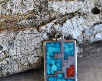 "Southwestern turquoise and coral pendant rectangular pendant turquoise jewelry Native American jewelry 5/8"" DF357"