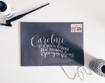 Handwritten modern calligraphy wedding envelopes - Tremont style