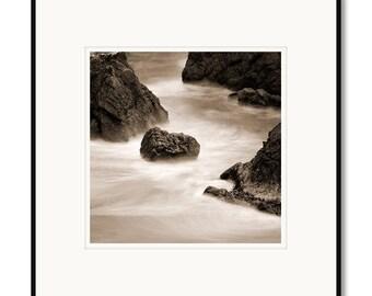 Black and white photography, sepia prints, Pacific Coast, Sonoma Coast California, Northern California, ocean rocks waves, beach photograph