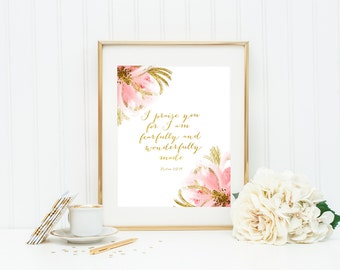 Bible Verse Print, Fearfully and Wonderfully Made, Gold foil, Psalm 139:14 Nursery Decor Wall Art Scripture Wall Art Christian Print 8x10