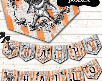 Halloween Party Banner - Halloween Printable Banner - Halloween Garland - Halloween Decorations - Happy Halloween Banner - Instant Download